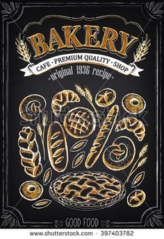 Vintage Bakery Poster. Set of bakery. Bread and pastries. Imitation of chalk sketch. Bakery Shop Design.
