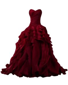 Sunvary Luxurious Burgundy Ball Gown Quinceanera Dresses for Prom with Ruffles - US Size 20W- Burgundy