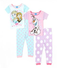 Loving this Frozen Aqua & Lilac Four-Piece Pajama Set - Toddler on #zulily! #zulilyfinds