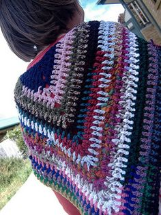 Simple stashbuster shawl. Easy to use scraps of wool to individualise this shawl and make your own.