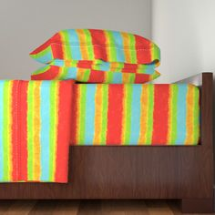 Langshan Sheet Set featuring Dazzling Red Orange Lime Stripes by linda_baysinger_peck | Roostery Home Decor