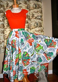 The Tiki 1950's Vintage Circle Skirt in by SleepingonSnowVntg, $54.00
