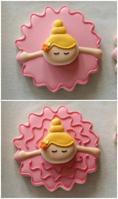 Galletas o muffins de Bailarina / Bowing Ballerina Cookies Cookies For Kids, Fancy Cookies, Iced Cookies, Cute Cookies, Royal Icing Cookies, Cookies Et Biscuits, Yummy Cookies, Cupcake Cookies, Sugar Cookies