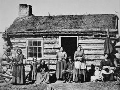 Mormon Pioneer Family at Echo City, Utah, c.1869 (Photographic Print at Art.com) Interesting how many are going back to sod/green roofs today, they've withstood the test of time.