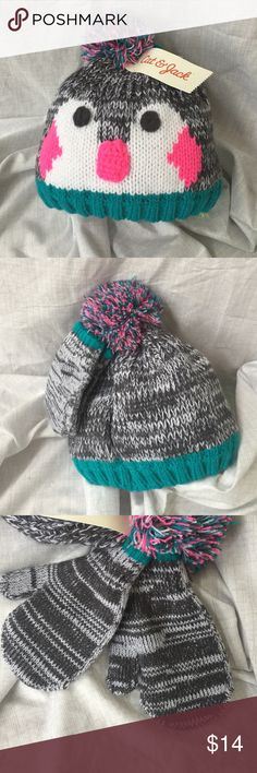 Cat & Jack Aqua Freeze Hat & Mitten Set New with Tags Toddler Winter wear. 100% polyester. Cute lined knit cap.  Matching mittens. Great fall/winter wear. Cat & Jack Accessories Hats