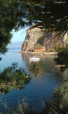 cave of Neraki Beach on the trail leading from Arvanitia to Karathona Beach Nafplio, Greece