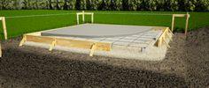 Concrete slab shed foundation.