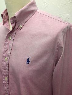 £30 Polo #RalphLauren #Mens #Shirt Medium Custom Fit Plain Pink #Oxford Cotton #menswear #mensfashion #mensstyle
