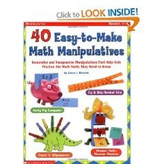 DIY Math Manipulatives book   I really like the stegasaurus clothespin figure for adding and subtracting