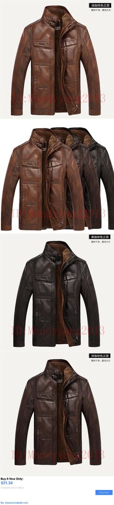 Men Coats And Jackets: Winter Mens Warm Genuine Leather Fur Lining Jacket Coat Outwear Trench Padded BUY IT NOW ONLY: $31.34 #priceabateMenCoatsAndJackets OR #priceabate