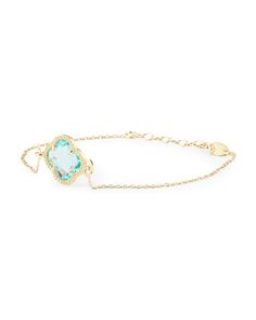 DYADEMA Made in Italy Yellow Gold Plated Sterling Silver Blue Crystal Quatrefoil Bracelet