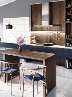 Design Einbauküche Systema 6000 Samtblau Lack