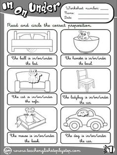 best prepositions images  learning english english classroom  place prepositions  worksheet  bw version kids english english  reading english