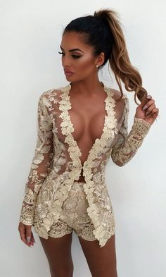 Free From You Gold Sheer Mesh Lace Long Sleeve Plunge V Neck Jacket and Shorts Two Piece Set