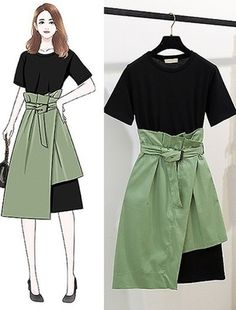 2019 Summer 2 Piece Set Suit Women Black Long O-neck T-shirt Mid-calf Skirt Office Lady 2 Piece Outfits for Women Elastic Waist Teen Fashion Outfits, Stylish Outfits, Cute Outfits, Fashion Drawing Dresses, Fashion Dresses, Korea Fashion, India Fashion, Japan Fashion, Fashion Vocabulary