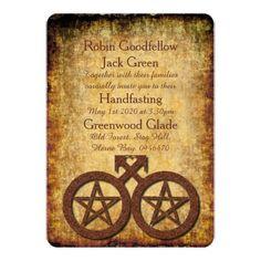 Wiccan Rustic Gay Handfasting Invitation Pentacles