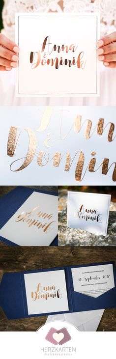 Hochzeitskarten mit digitaler Folienprägung in Gold, Silber, Roségold - lasst Eure Namen direkt mit Folie auf die Karten prägen, ganz ohne teures Prägeklischee #herzkarten #goldfolie #rosegold #einladungskarten #hochzeit #minimal #modern #papeterie