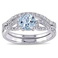 Miadora 10k White Gold Aquamarine and 1/6ct TDW Diamond Bridal Ring Set (G-H, I1-I2) - Overstock™ Shopping - Top Rated Miadora Gemstone Rings