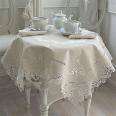 Offering a full selection of elegantly hand-embroidered house linen, and lace Vintage Table Linens, Shabby Vintage, Mantel Redondo, Burlap Table Runners, Flower Tea, White Cottage, Shabby Chic Kitchen, Linens And Lace, Fine Linens