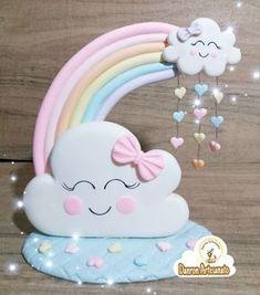 Topo de bolo Chuva de Amor #chuvadeamor #festainfantil #festachuvadeamor #festaunicórnio #unicórnio #lembrancinhas #lembrancinhasdeluxo #nuvem #coração #mimo #lembrançafofa #danronartesanato