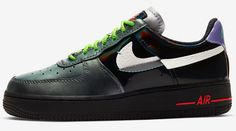 """Is it actually inspired by the Joker? Find out when and where you can shop the Nike Air Force 1 """"Vandalized"""". Nike Shoes, Shoes Sneakers, Exclusive Shoes, Nike Airforce 1, Nike Af1, Jd Sports, Sneaker Brands, Vans Sk8, Custom Shoes"""