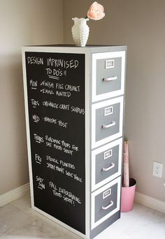 DIY Craft Room Ideas and Craft Room Organization Projects -  File Cabinet Makeover For Craft Lovers  - Cool Ideas for Do It Yourself Craft Storage - fabric, paper, pens, creative tools, crafts supplies and sewing notions |   http://diyjoy.com/craft-room-organization