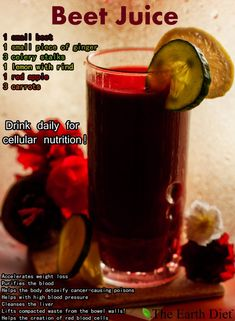 A quick and easy recipe for delicious and healthy beet juice! Beet juice helps to accelerate weight loss purifies the blood helps with high blood pressure detoxifies the body and the liver and helps with the creation of red blood cells. Healthy Juice Recipes, Juicer Recipes, Healthy Detox, Healthy Juices, Healthy Smoothies, Healthy Drinks, Smoothie Recipes, Cleanse Recipes, Easy Detox