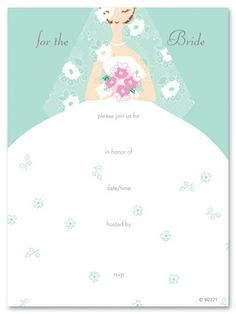 Blank bridal shower invitations sweet peony fill in the for Bridal shower fill in invitations