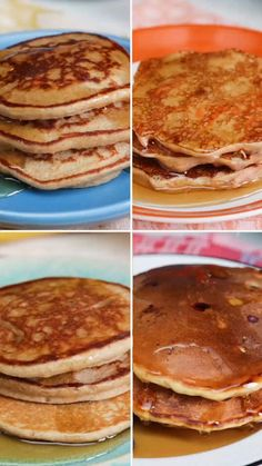 4 Simple and Healthy Pancakes Vegetarian Gluten-free · From carrot cake to blueberry, these inspired hotcakes are not only good for you but tasty too. recipes videos breakfast 4 Simple and Healthy Pancakes Breakfast Dishes, Healthy Breakfast Recipes, Healthy Snacks, Healthy Recipes, Dessert Healthy, Breakfast Pancakes, Healthy Recipe Videos, Dinner Healthy, Breakfast Ideas