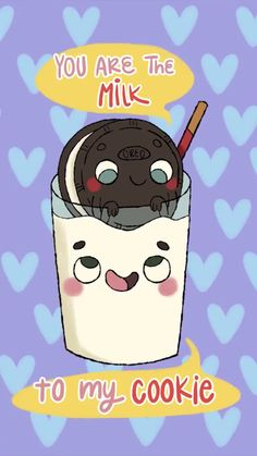 Yummy milk and cookie! Funny Food Puns, Cute Jokes, Food Humor, Love Puns, Funny Love, Cookie Quotes, Cheesy Puns, Frases Humor, Cute Gif