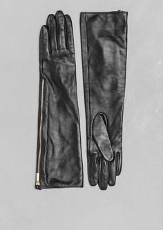 & Other Stories | Zipped Long Leather Gloves.