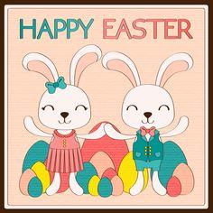 Buona Pasqua! Auguri e buone feste a tutti :) #giuliabasolugrafica #graphic #illustration #drawing #illustrator #digitalart #vector #bunny #easter