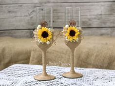 Sunflower Wedding Flutes, Rustic Burlap Sunflower Toasting Glasses, Bride and Groom Glasses Set, Champagne Glasses, Mr and Mrs Toast Flutes by VioletAtelier on Etsy https://www.etsy.com/listing/288454619/sunflower-wedding-flutes-rustic-burlap