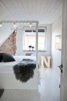 Photo by Mia Mortensen Photography - Discover Scandinavian bedroom ideas Queen Canopy Bed Frame, Iron Canopy Bed, King Size Canopy Bed, Platform Canopy Bed, Brick Wall Bedroom, Ideas Hogar, Bedroom Pictures, Bedroom Ideas, Secret Rooms