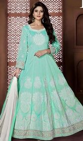 Anarkali Churidar Suit in Cyan Blue Color Banglori Silk  #anarkalinewstyle #anarkaliskirts Revel in a feeling of stardom dressed in this Anarkali churidar suit in cyan blue color banglori silk. Beautified with lace and resham work all synchronized well with all the pattern and style and design of the attire. USD $ 99 (Around £ 68 & Euro 75)