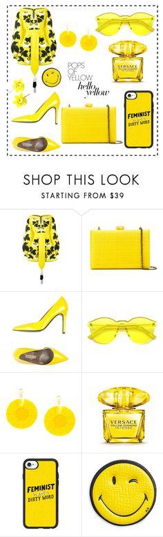 """all about yellow 💛"" by deisisra ❤ liked on Polyvore featuring Yuliya Magdych, Serpui, Gianmarco Lorenzi, Oscar de la Renta, Versace, Casetify, Anya Hindmarch, PopsOfYellow and NYFWYellow"