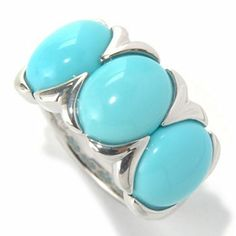 Gem Insider Sterling Silver 10 x 8mm Sleeping Beauty Turquoise Three-Stone Ring