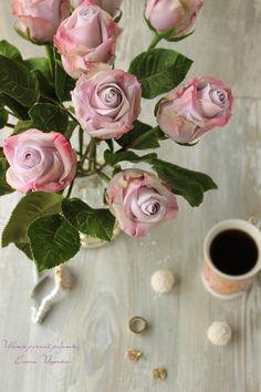 lilac roses handmade polymer clay