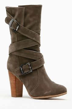 Dollhouse Strappy Taupe Chunky Boots @ Cicihot Boots Catalog. These are so cool! #vegan