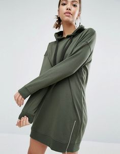 Buy it now. Daisy Street Longline Hooded Dress With Side Zip Detail - Green. Dress by Daisy Street, Soft-touch sweat, Fixed drawstring hood, Dropped shoulders, Ribbed cuffs and hem, Zip-side detail, Relaxed fit, Machine wash, 55% Polyester, 45% Cotton, Our model wears a UK S/EU S/US XS and is 171cm/5'7.5 tall. ABOUT DAISY STREET If you like your trends as fast as they come then Daisy Street is the label for you. Always up on their A-game, Daisy Street's collection of crop tops, bodycon midis…