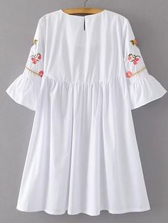 Shop Bell Sleeve Flower Embroidery Dress online. SheIn offers Bell Sleeve Flower Embroidery Dress & more to fit your fashionable needs.