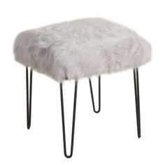 HomePop Faux Fur Gray Square Stool Metal Hairpin Legs | Overstock.com Shopping…