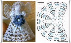 Angel with arm detail pattern Crochet Angel Pattern, Crochet Angels, Irish Crochet, Crochet Motif, Crochet Christmas Decorations, Crochet Ornaments, Crochet Snowflakes, Doily Patterns, Crochet Patterns