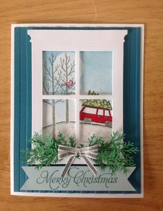 Stampin Up handmade Christmas card - Window view on snowy day by treehouse05 on Etsy https://www.etsy.com/listing/203316782/stampin-up-handmade-christmas-card