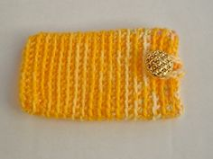 Yellow Phone Holder Yellow Things, Phone Holder, Bobs, Knitted Hats, Knitting, Tricot, Breien, Stricken, Weaving