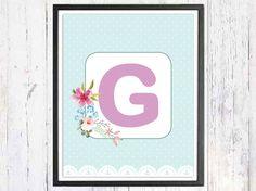 Personalized Nursery Art Monogram Baby Art Baby Name by LooveMyArt