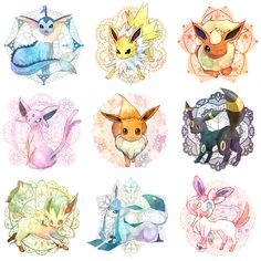 Eevee and its evolutions (by  湯就)