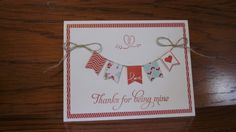 Stampin'Up! Valentine card made with Banner Blast stamp set and punch and Love you to the moon stamp set