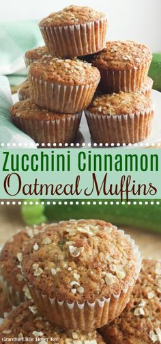 These Zucchini Oatmeal Muffins use shredded zucchini, cinnamon and brown sugar. They're full of flavor and no one will know that you're serving them a vegetable! Find the recipe at gracefullittlehoneybee.com #muffins #oatmeal #zucchini Muffins Zucchini, Zucchini Desserts, Zucchini Cupcakes, Zucchini Bread, Garlic Bread, No Bake Desserts, Dessert Recipes, Dinner Recipes, Zuchinni Recipes