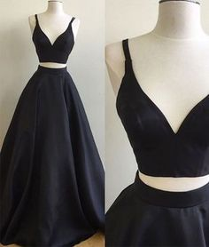 Simple two pieces black long prom dress, black evening dress
